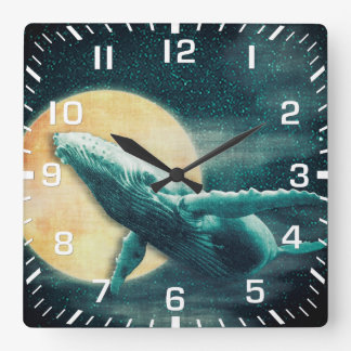 Humpback Whale Flying to The Moon Wall Clock