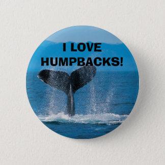 Humpback Whale, I LOVE HUMPBACKS! 6 Cm Round Badge