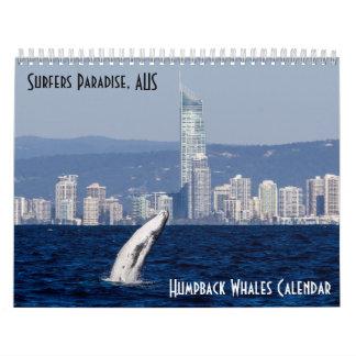 Humpback Whale Surfers Paradise Pacific Ocean Wall Calendars