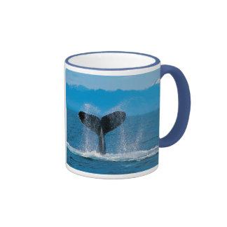 Humpback Whale Tail, Against Whaling Ringer Mug