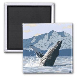 Humpback Whale - Valdez, Alaska Square Magnet