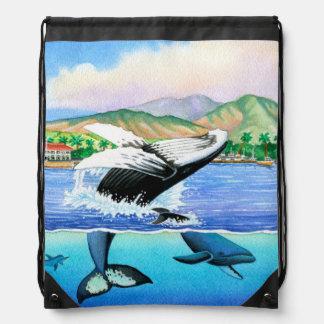 Humpback Whales Drawstring Bag