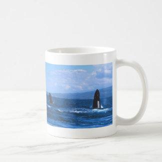 Humpback Whales Jumping Basic White Mug