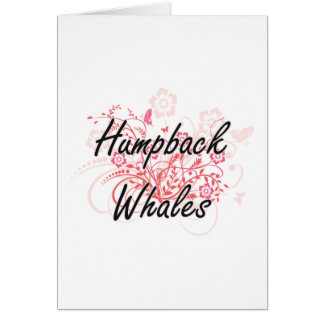 Humpback Whales with flowers background Greeting Card