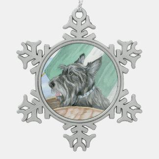 Humphrey the Scottie Snowflake Pewter Christmas Ornament