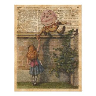Humpty Dumpty & Alice Vintage Book Illustration 21.5 Cm X 28 Cm Flyer