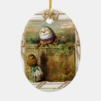 Humpty Dumpty and Alice Ceramic Oval Decoration