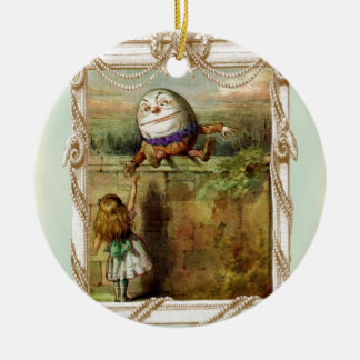 Humpty Dumpty and Alice Round Ceramic Decoration