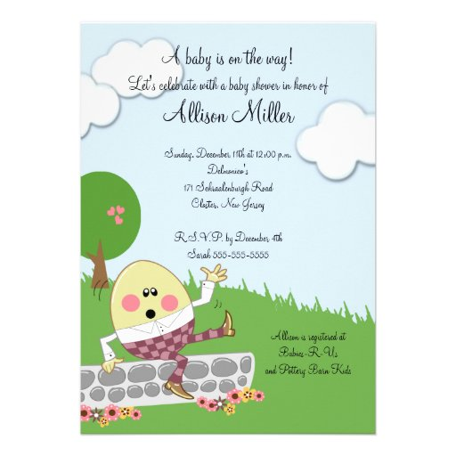 Humpty Dumpty Baby Shower Custom Announcement