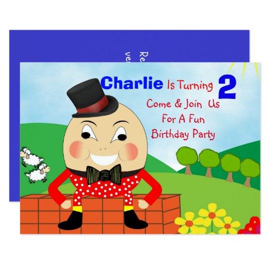 Humpty Dumpty Themed Kids Birthday Party Editable Card