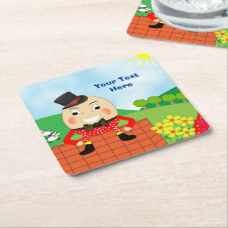 Humpty Dumpty Themed Kids Birthday Party Editable Square Paper Coaster