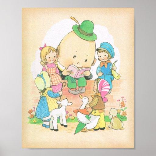 Humpty Dumpty ,Vintage Nursery Rhymes,  Mabel Luci Print