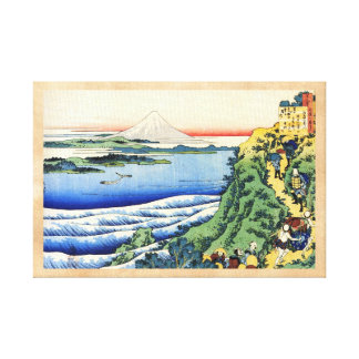 Hundred Poems Explained by the Nurse Hokusai Stretched Canvas Print
