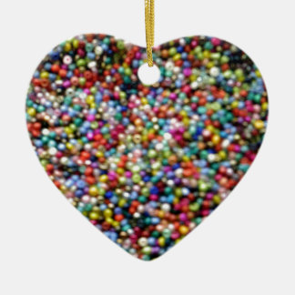 Hundreds and Thousands of Beads Ceramic Heart Decoration