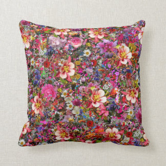 Hundreds of Flowers Throw Pillow Cushion