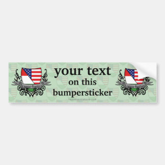 Hungarian-American Shield Flag Car Bumper Sticker