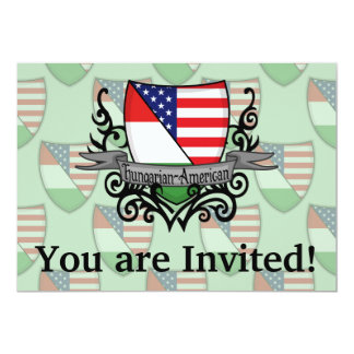 Hungarian-American Shield Flag 5x7 Paper Invitation Card