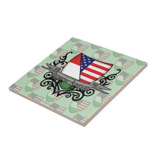 Hungarian-American Shield Flag Small Square Tile