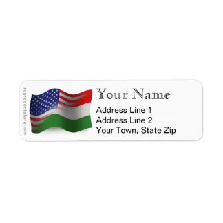 Hungarian-American Waving Flag Return Address Label