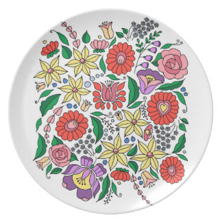Hungarian embroidery inspired flowers party plate