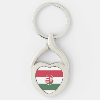 Hungarian Flag Keychain Silver-Colored Twisted Heart Key Ring