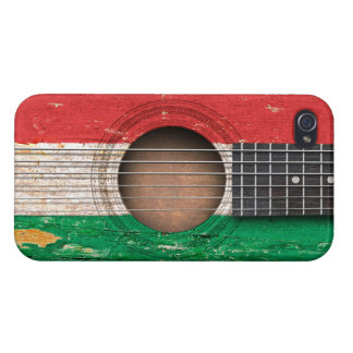 Hungarian Flag on Old Acoustic Guitar iPhone 4/4S Covers