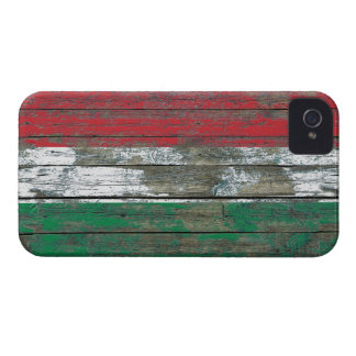 Hungarian Flag on Rough Wood Boards Effect iPhone 4 Cases