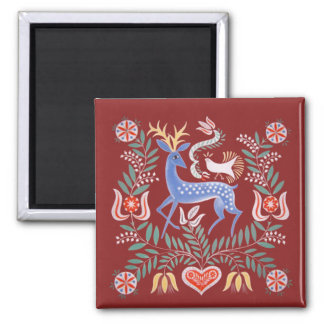 Hungarian Folk Art Square Magnet