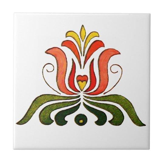 Hungarian Folk Flower Small Square Tile