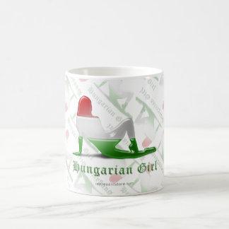 Hungarian Girl Silhouette Flag Basic White Mug