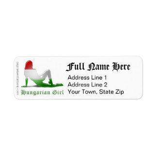 Hungarian Girl Silhouette Flag Return Address Label