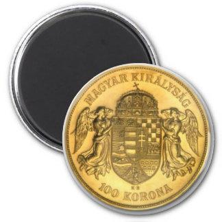 Hungarian Gold Korona Coin Design Magnet