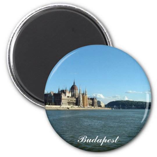 Hungarian Parliament and the Danube 6 Cm Round Magnet