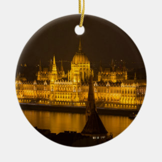 Hungarian Parliament Budapest by night Round Ceramic Decoration