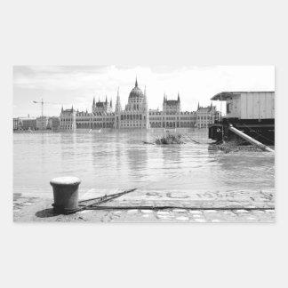 Hungarian Parliament Building across River Danube Rectangular Stickers