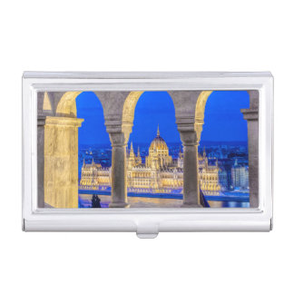 Hungarian Parliament Building at Dusk Business Card Holder