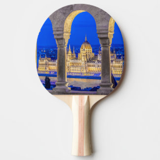 Hungarian Parliament Building at Dusk Ping Pong Paddle