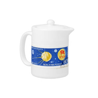 Hungarian Postage Stamps Teapot