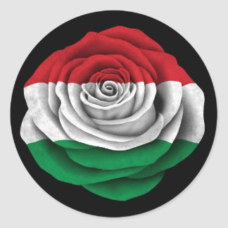 Hungarian Rose Flag on Black Round Sticker
