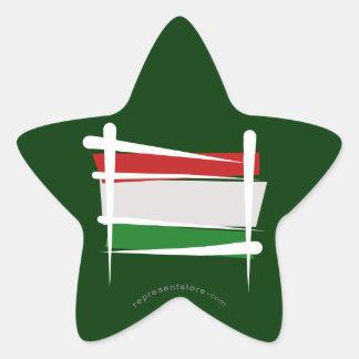 Hungary Brush Flag Star Sticker