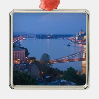 HUNGARY, Budapest: Szechenyi (Chain) Bridge, 2 Christmas Ornament