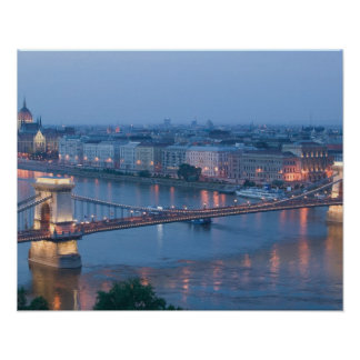 HUNGARY, Budapest: Szechenyi (Chain) Bridge, 3 Poster