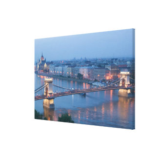 HUNGARY, Budapest: Szechenyi (Chain) Bridge, 3 Stretched Canvas Prints