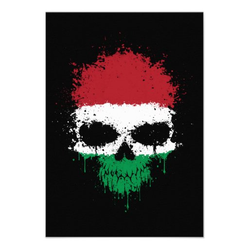 Hungary Dripping Splatter Skull Custom Announcement