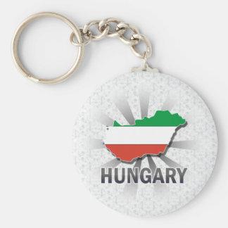Hungary Flag Map 2.0 Basic Round Button Key Ring