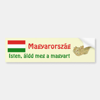 Hungary Flag + Map Bumper Sticker