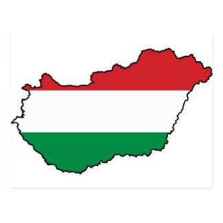 Hungary Flag Map HU Postcard
