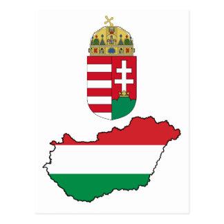 Hungary Flag Map HU Postcard