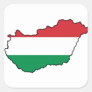 Hungary Flag Map HU Square Sticker