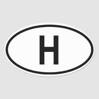 "Hungary ""H"" Oval Sticker"